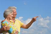 Happy senior couple on a sky background — Stock Photo