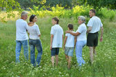 Big family in a park — Stock Photo