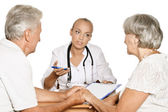 Elderly  couple visit doctor — Stock Photo