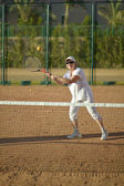 Senior woman playing tennis — 图库照片