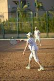 Senior couple playing tennis — Stock Photo
