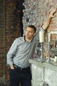 Thoughtful man in vintage interior — Foto de Stock