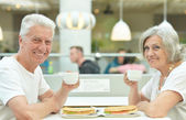 Elderly couple on date — Photo