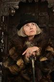 Mature woman in fur — Foto de Stock