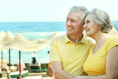 Elderly couple on the seashore — Stockfoto