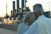 Couple and boat — Stock Photo
