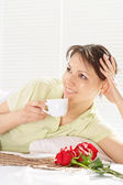 Beautiful female with cup — Stock Photo