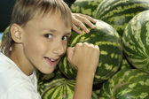 Young boy with watermelon — Stock Photo
