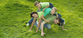 Family in green T-shirts  — Stock Photo