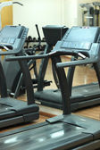 Treadmills at the fitness hall — Stock Photo