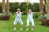 Senior couple exercising — Stock Photo