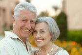 Senior couple resting at the resort — Stock Photo