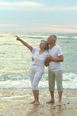 Senior couple hugging on beach — Stock Photo