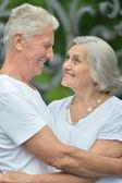 Retired couple hugging — Stock Photo