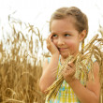 Little girl in the wheat field — Stock Photo