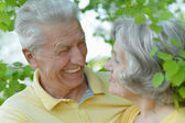 Retired couple smiling outdoors — Foto Stock