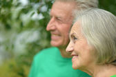 Portrait of senior couple in forest — Stock Photo