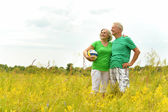 Senior couple in summer field with ball — Stock Photo