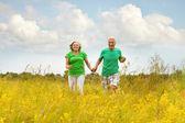 Senior couple running in summer field — Stock Photo
