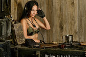Sexy brunette woman listening radio set — Stock Photo
