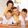 Happy family drawing with pencils — Stock Photo #51642191