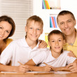 Happy family drawing with pencils — Stock Photo #51642239