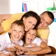 Happy family drawing with pencils — Stock Photo #51642243