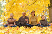 Happy family meditate — Stock Photo