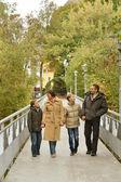 Happy family walking park — Foto de Stock