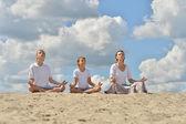 Happy family meditate — Stok fotoğraf