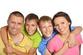 Happy family faces — Stock Photo