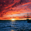 Sunset on a river — Stock Photo