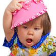 Child in a pink bonnet — Stock Photo