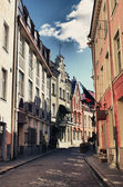 Bystreet with medieval architecture — Stock Photo