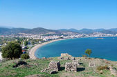 Panorama of Nea Peramos and Aegean sea — Stock Photo