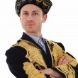 Young handsome man in typical Kazak dress — Stock Photo
