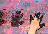 Three Baby hand with paint — Stock Photo