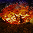 Melting iron in a furnace — Stock Photo