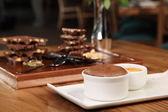 Chocolate souffle with ice cream — Stock Photo