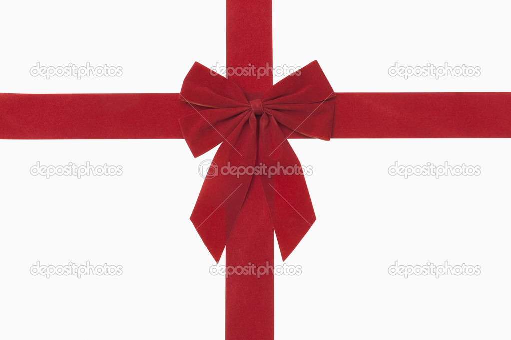 Red christmas bow, includes clipping path — Stock Photo #13594656
