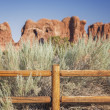 Stock Photo: Wooden Fence in Arches National Park