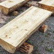 Primitive log benches — 图库照片