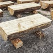 Primitive log benches, — Stock Photo