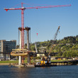 Construction by the Willamette River — Stock Photo