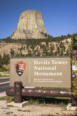 Devils Tower National Monument Sign — Stock fotografie