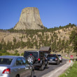 Cars entering Devils Tower — Stock Photo
