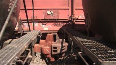 Acoplador de coche del ferrocarril — Vídeo de Stock