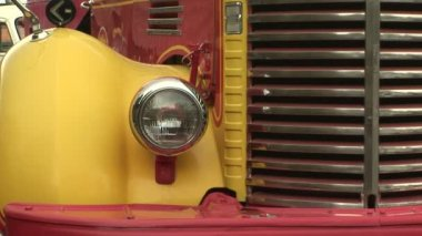 Zoom in of a classic truck headlight — Stock Video