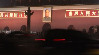 Mao and Forbidden City at Night — Stock Video
