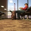 Airport Wait — Stock Video #34321681